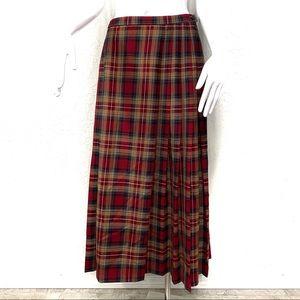 Pendleton Plaid Tartan Wool Midi Skirt Size 8